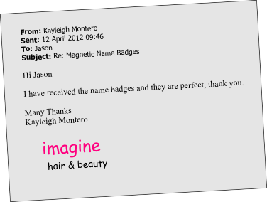plastic name badge testimonial