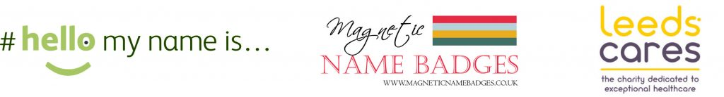 magnetic name badges donation to leeds cares charity